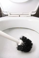 cleaning a toilet bowl with brush