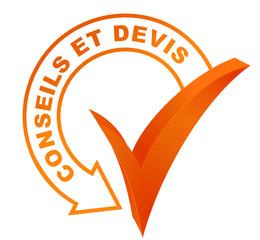 conseils et devis sur symbole validé orange