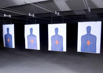 bullseye targets at gun range