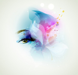 Beautiful fashion woman eye with design elements