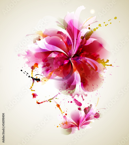 Fotobehang Floral Vrouw Beautiful fashion women with abstract hair and design elements