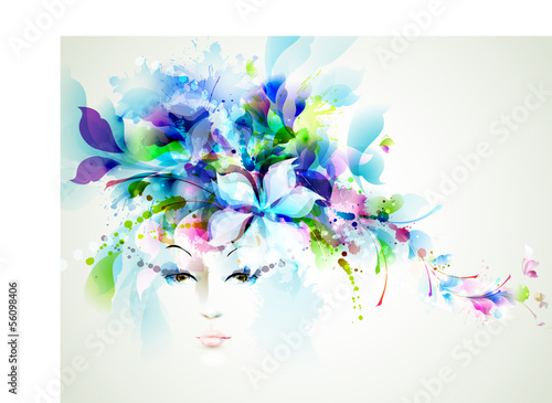 Poster Bloemen vrouw Beautiful fashion women face with abstract design elements