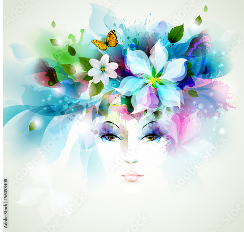 Poster Bloemen vrouw Beautiful fashion women face