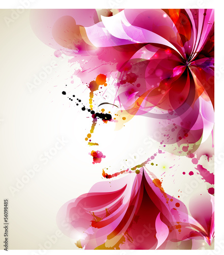 Spoed canvasdoek 2cm dik Bloemen vrouw Beautiful fashion women with abstract hair and design elements
