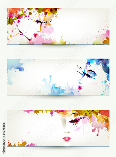 Poster Bloemen vrouw Beautiful abstract women faces on three headers