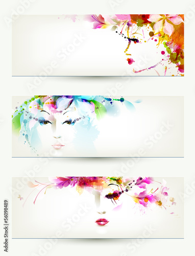 In de dag Bloemen vrouw Beautiful women faces on three headers