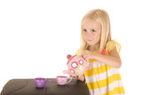 Darling young blond girl playing with a tea in striped shirt poster
