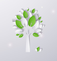 paper green tree abstract background