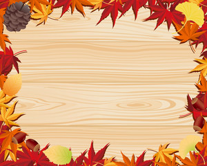 Autumn leaf & wooden board
