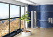 Modern Bathroom interior with blue wall and shower cubicle