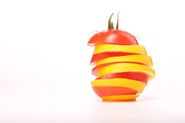 tomato slices and orange