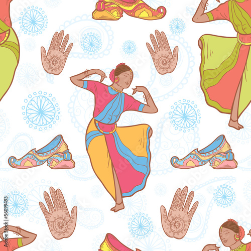 Indian dancer girl seamless pattern