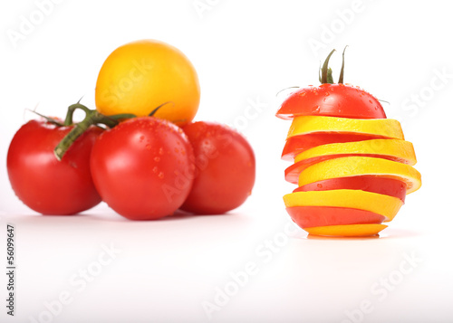tomato and orange sliced