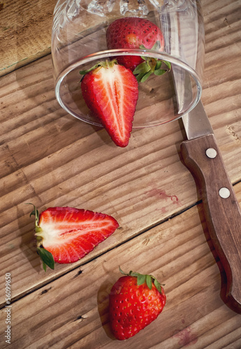 strawberries cut into two parts