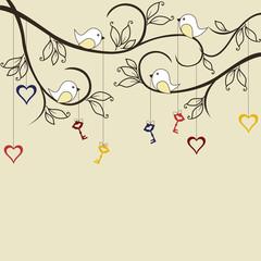 Birds with keys to hearts on trees