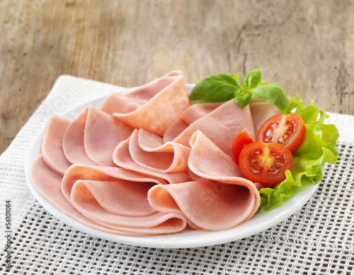 plate of sliced pork ham