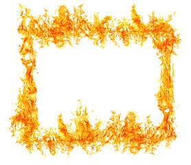 bright orange flame isolated on white