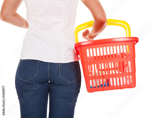 Woman holding shopping basket