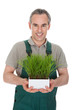 Portrait of a happy man holding plant