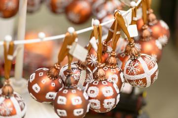 Hanging glittering Christmas decorations bulbs