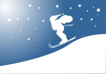 Karte mit Nikolaus auf Skier