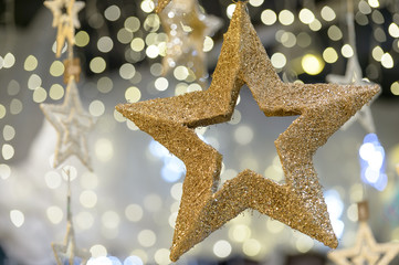 Golden metallic star shiny Christmas decoration