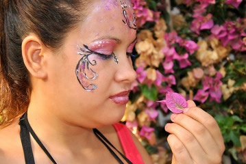 Woman with face painted