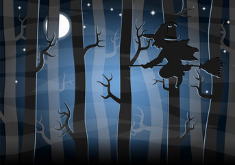 witch flying at night through the forest