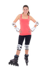 attractive woman in roller skates posing on white background