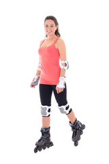 attractive woman in roller skates isolated on white background