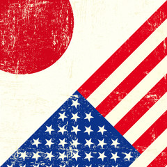 USA and japanese grunge Flag