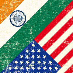 USA and Indian grunge Flag