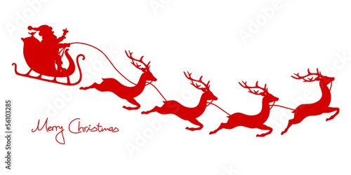Christmas Sleigh, Santa & 4 Flying Reindeers Red