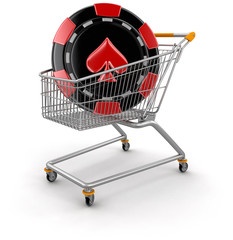 Shopping Cart and casino chip  (clipping path included)