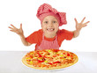 Little girl preparing homemade pizza