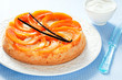 Pumpkin upside down cake, selective focus