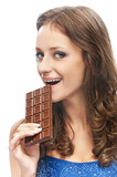 Woman with chocolate bar
