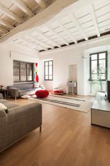 Beautiful modern house, rustic interior, living room