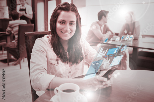 Cheerful young woman studying on futuristic smartphone