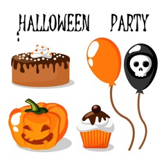 Halloween party vector set with food, pumpkin and skull