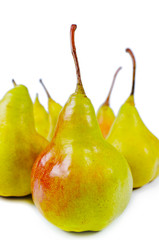 Close-up of fresh shiny sweet delicious pears