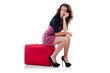 Young woman with travel suitcase