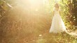 Pretty Woman White Wedding Dress Nature Sun Forest Background