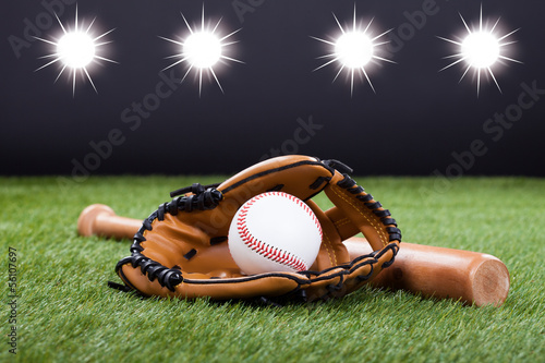 Baseball Glove With Baseball And Bat