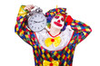 Clown with alarm clock isolated on white