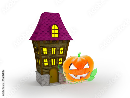 halloween house and glass pumpkin