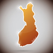 vintage sticker in form of Finland