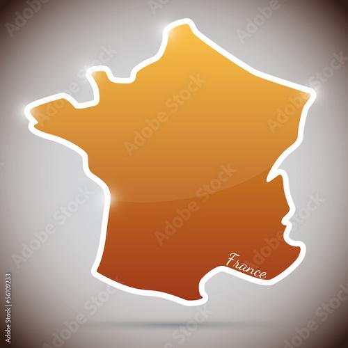 vintage sticker in form of France