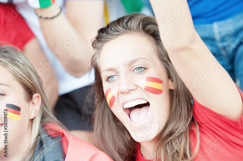 Spanish young supporter at the stadium during the World Cup