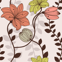 Seamless pattern with leaves and flowers